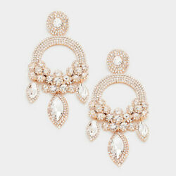 5quot; Rose Gold Clear Silver Crystal Rhinestone Chandelier Earrings Drag Queen $20.99