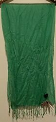 NWT Remington Women#x27;s Fashion Green Scarf With Tassels $15.99