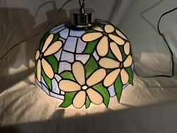 VINTAGE FLORAL LAMP SHADE TIFFANY STYLE STAINED HANGING LAMP WHITE GREEN $85.00