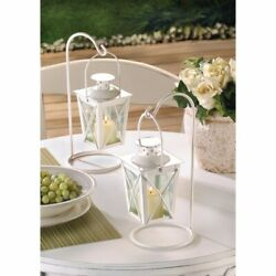 Romantic White Lanterns Hanging on Stands Set of 2 $27.95