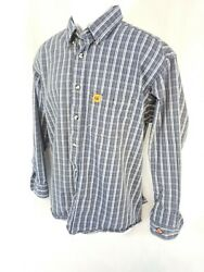 Wrangler FR Riggs Workwear Plaid Button Shirt Mens Large HRC2 Fire Resistant