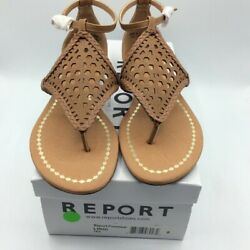 Report Womens Lindi Flat Sandals Brown Buckle Ankle Strap Cut Out 8 New $13.23