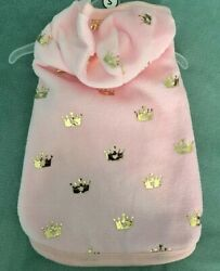 SIMPLY DOG PINK with GOLD CROWNS VELOUR HOODIE COVERUP JACKET Puppy Dog MEDIUM $18.50