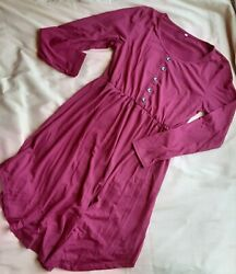 Pretty Maroon Button Knee Length Long Sleeve Dress Size LARGE Unknown Brand $10.00