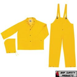 3 Piece Safety Rain Suit Yellow Rain Jacket with Detachable Hood and Overalls $16.25