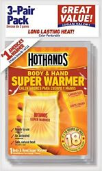 3 pack of HotHands SUPER  Warmers. 18 Hours of heat  $6.90