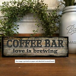 Coffee Bar Love is Brewing Wood Sign Rustic Farmhouse Style Shelf Sitter 8x3quot; $15.99