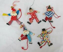 """2 Sevi Italy 4"""" Wood Clowns + 3 More Jumping Jack Pull String Toys $49.95"""
