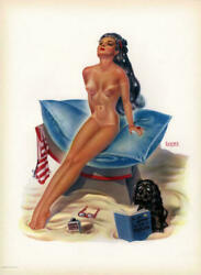 Vintage 1940s Bill Layne Large Pin Up Print Sun Beach Goddess Louis F. Dow $75.95