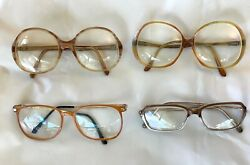 Lot of 4 Big RX Glasses Plastic Frames Womens Hillary Style Vintage $18.95