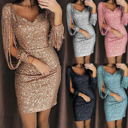 Women Sequined Long Sleeve Tassel Bodycon Club Party Cocktail Evening Mini Dress $12.99