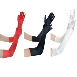 3 Pairs Women#x27;s Evening Party Formal Gloves 22quot; Long Satin Finger Black White $11.99