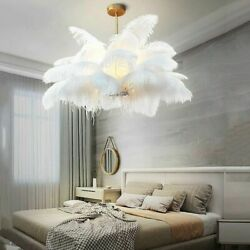 Ceiling Lights Natural Ostrich Feather LED Pendant Lamp Bedroom Hanging Lamps $452.82