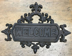 Rustic Cast Iron Hanging Welcome Sign Victorian Design Garden Wall Plaque Metal $19.95
