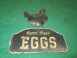 TIN SIGN Farm Fresh Eggs Hen Rustic Farmhouse Decor Kitchen Antique Look $17.95