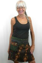 JAYLI Nepal HIPPIE Handmade SNAP WRAP SKIRT with TWO Pockets FAIR TRADE $54.99