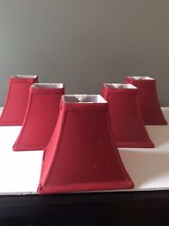 5 Medium Square Fabric Chandelier Clip On Shades Burgundy Red $29.99