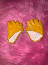 Faux Leather Mustard Fingerless Palm Gloves $19.99