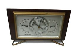 Vintage Taylor Instruments Comp Mahogany Weather Station Desk Top Mid Century US $34.99