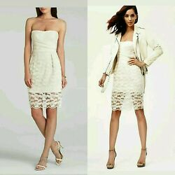 $368 BCBG MAX AZRIA Ivory Lace Mesh Embroidery Adrianna Cocktail Dress 10 M3020