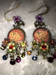 Muti-Color Disc With Floral Chandelier Earrings