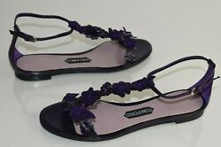 $1950 NEW TOM FORD Flats Sandals T Strap Suede Leather Flowers Purple Shoes 40 $595.00
