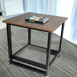 Coffee Table Square End Side Desk w Bottom Shelf Industrial Rustic Living Room $59.94
