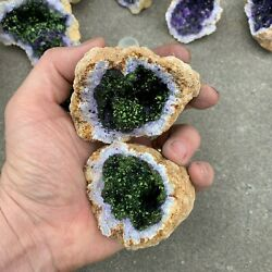 1 NATURAL GEODE Crystal with PURPLE AND GREEN Center 1 2 1 Pound ea. $14.99