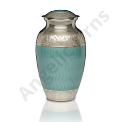Brass Green Enamel Cremation Funeral Urn Ashes Adult 200 Cu In Burial Large $129.95