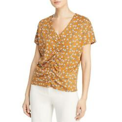 Kenneth Cole New York Womens Floral Print Ruched V-Neck T-Shirt Top BHFO 9311 $6.41