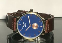 Classic Ultra Slim Blue Dial Analog Bronze Round Dress Watch Brown Strap  $25.95