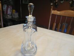 Vtg HOLME GAARD #282  Square Concave Shaped Clear Glass Decanter with Stopper