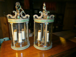 Very Interesting Pair of Early 15quot; Tall Electric Hanging Lamps Ex Cond. $479.95