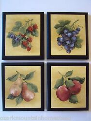 Fruit Country Kitchen Wall Decor Plaques 4 signs strawberries grapes yellow $29.94