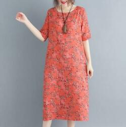 Womens Summer Short Sleeve Printed Floral Oversize Cotton Linen Casual Dresses