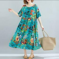 Womens Oversize Summer Short Sleeve Printed Floral Casual Beach Boho Party Dress