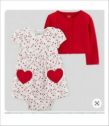 Valentines Baby Girl 2pc Heart Dress snap crotch Just One You Carters NB or 6mo $14.99