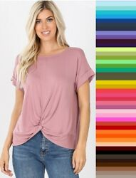 Womens Draped Relaxed *Twist Front* Crepe Short Sleeve Zenana Top S M L XL  $13.95