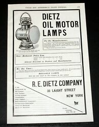 1904 OLD MAGAZINE PRINT AD DIETZ OIL MOTOR LAMP ONLY PROPER ONE FOR LARGE CAR $12.99
