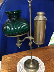 S51 Victorian Brass Antique Student Desk Lamp Hinrichs Emerald Shade $300.00