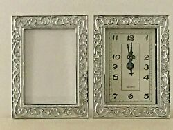 Silver Ornate Baroque Rococo Vintage Style Table Clock Analogue Photo Frame NEW AU $24.50