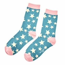 Ladies Bamboo Socks Stars Design Star Socks Novelty Turquoise 4 7 Miss Sparrow GBP 6.45