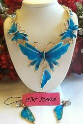 BETSEY JOHNSON BLUE BUTTERFLY WINGS CRYSTAL AND ENAMEL NECKLACE amp; EARRINGS $37.99