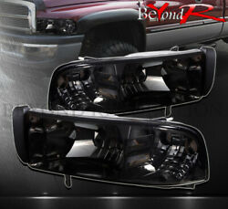 For 1994-2001 Dodge Ram 1500 2500 1Pc Headlights Smoked Lens Clear Reflectors $77.99