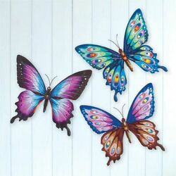 Colorful Butterfly Wall Set of 3 Hanging Blue Purple Metal Wings Nature Decor $29.99