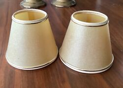 """Pair Candelabra Shades 4"""" H Golden Tan Parchment Color Clip on Chandelier Shades $11.00"""