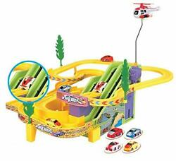 Racing Car Track Set with 4 Racing Cars amp; Helicopters for Kids Battery Operated $30.99