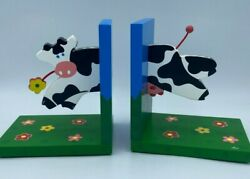 Novelty Kids Children's Wooden Cow Book Ends Farm Animal Moo Colorful Decor $14.99