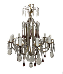 Italian Crystal Chandelier With Amethyst Accents - 19th C