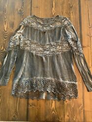 EUC Gimmicks BKE BuckleTop Lace Long Sleeve Boho Hippie Festival Small $16.19